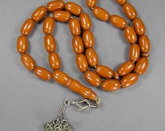 Antique Prayer Beads, Bakelite, Faux Amber, Faturan Misketa, Vintage Catalin, Tasbih, Misbaḥah