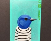 Mountain Bluebird portrait on a playing cards. Original acrylic painting. 2013