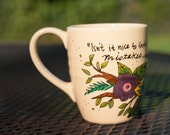 """Anne of Green Gables """"Isn't it nice to think that tomorrow is a new day with no mistakes in it"""" Medium yellow mug - L.M. Montgomery"""