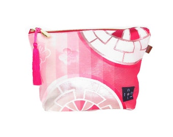 "Kimono Pouch  ""Sakura Pink"" Small / Japanese obi purse / zipper pouch/ make up purse / small size / tassel bag"