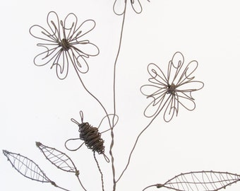 Wire Flower Stem with Wire Bee