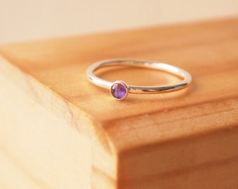 Amethyst Ring with 3mm stone, February Birthstone ring. Ready to ship, express delivery, Birthstone Jewellery, Purple Ring. Birthday Gift