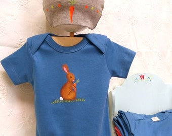 Easter bunny baby set/ Peter rabbit/Baby Hat and Bodysuit gift set on Organic Cotton, Baby present