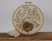 Coral seaweed Embroidery hoop wall art kelp ocean sea life beach sculpture textile art