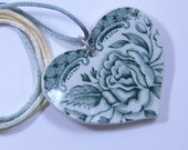 Pendant Heart Broken China Green Rose Country Wedding Romantic Gift #482