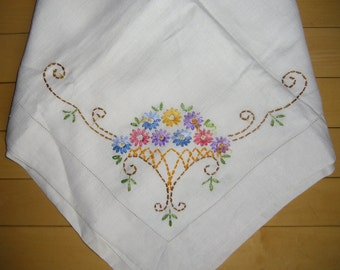 """Vintage Linen Tablecloth - Small Floral Embroidered Cloth, 46"""" Square, Shabby Chic, Boho, Wedding or Shower Decor"""
