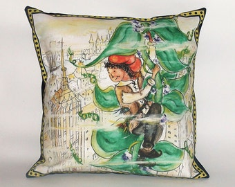 Children's Fairy Tale Pillow Cover - Jack and the Beanstalk, in the City