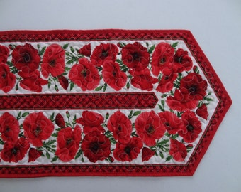 Red poppy quilted table runner ready to ship