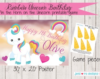 Pin the Horn on the Unicorn Printable Birthday Game - Personalized