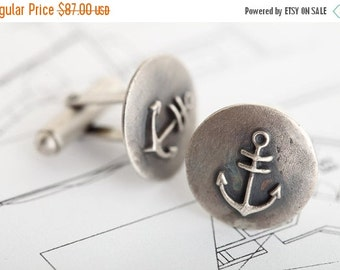 Valentines Day Anchor cuff links, nautical cufflinks,navy, silver anchor cuff links, men's gift, sterling anchor, father's day gift, Cuff Li