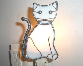 LT Stained glass white or bone Cat night light lamp accent lamp hand made in the USA