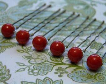 6 Coral Red 8mm Swarovski Crystal Pearl Hair Pins