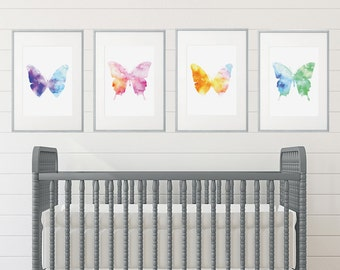 Girl Room, Girl's Room Decor, Girl Nursery Decor, Watercolor Art, Girl Nursery, Girl Nursery Decor, Butterfly Nursery, Butterfly Room Decor