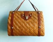 Vintage Basket Handbag Top Handle Purse Weave Brown Wicker Leather straps 70s