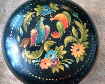 Russian Hand Painted Lacquer Box with Birds