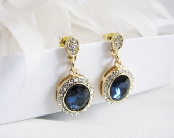 Deep Sapphire Crystals Rhinestones Bridal Wedding Jewelry Earrings Crystal Bridal Statement Necklace, Gold Crystal Wedding Earrings