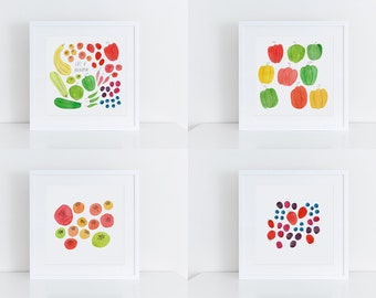 Art Print Set, Eat a Rainbow, Watercolor Art Print, Hand Lettering, Summer Garden, Tomato, Berry, Pepper, Zucchini, 8x8, Foodie, Cooking