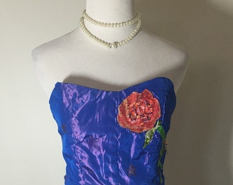 Electric Iridescent Purple Star and Roses Sequins Cropped Corset Free Shipping