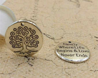10 pcs family tree charms-engraved circle charms  -Double sided design-T0715