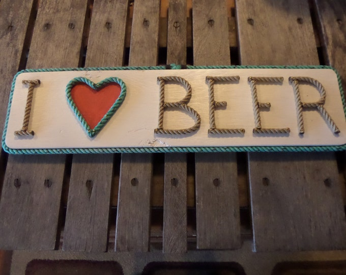 I love BEER  Signage Red Heart Rope Letters and Heart Shape Sign Perfect Man Cave and Beer Drinker Gift Brewery Pub signs I heart BEER