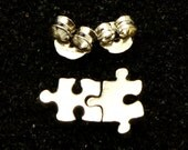 925 Silver Jigsaw Puzzle Stud Earring - Autism Awareness
