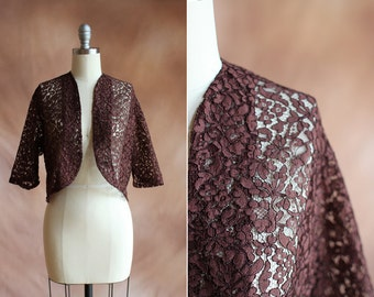 vintage 1940's brown sheer lace cropped bolero jacket cardigan / size s - m
