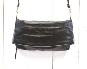 Fold Over Bag 80s Vintage Black Faux Leather Convertible Clutch Cross Body Purse