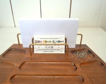 Wood Desk Tray Vintage Mid Century Walnut Office Desktop Organizer Storage 1960s