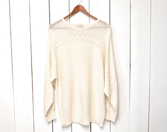 Silk Knit Sweater Slouchy Loose Fit Vintage 1970s Cream Boho Lace Blouse Medium Large
