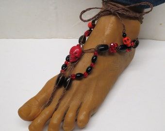 Pair of Spooky red skull with black and brown barefoot sandals made with hemp.  Beach and bellydance fashion. HFT-A267