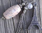 On Sale Keychain, Purse Charm, Zipper Pull with Handmade Ceramic Beads from my Charleston, SC Studio