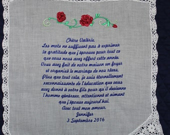 Mother of the Groom Handkerchief in French -- with Wedding date and rose White with Crochet Border
