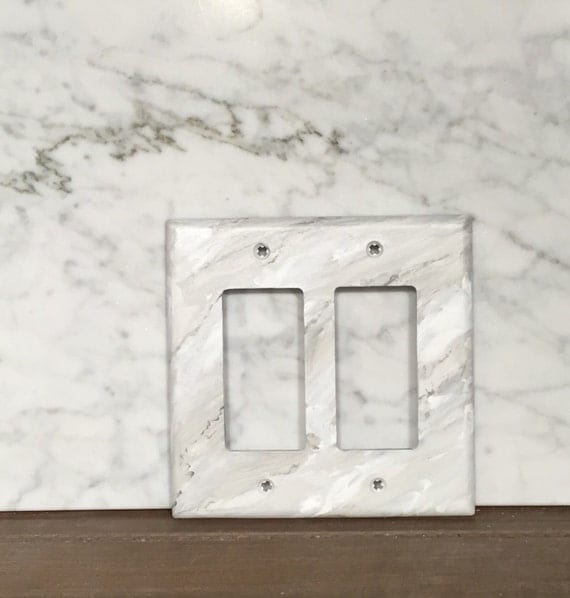 Gray White Veined Marble Bathrooms: Switchplate Covers Handpainted To Look Like Grey Veined White