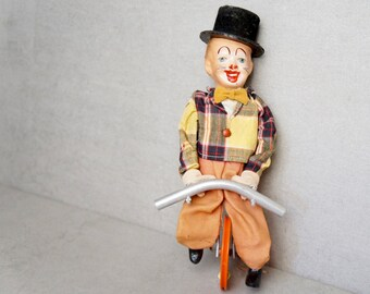 Unicycle Clown Toy - Feco Western Germany Highwire Unicycle Clown Toy - 1950s Unicycle Antique Clown Toy - Vintage 1950s Clown Toy - Clown