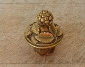 VINTAGE BRASS CORK Berries and Leaves Great Detail Unusual Small Size Gold Color Bottle Cork Barware Free Shipping!