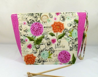 Knitting Project Bag - Large Zipper Wedge Bag in Vintage Floral Fabric and Pink Cotton Lining