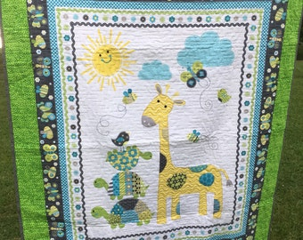 Giraffe and turtle baby quilt