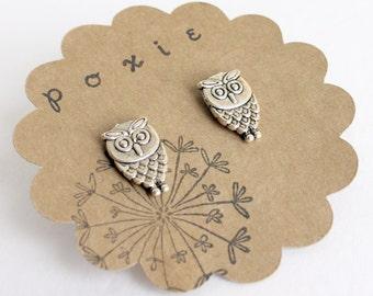 Silver Owl Earrings - Owl Post Earrings - Nature Earrings - Silver Bird Jewelry - Woodland Earrings - Woodland Jewelry - Nature Jewelry