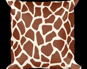 Giraffe Print Designer Throw Pillow