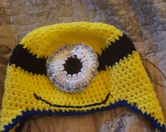 Hand crocheted Minion Hat, one or two eyes