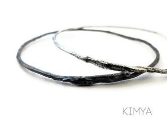Silver Bangle - Oxidized Silver Bangle - Contemporary Bracelet - Minimalist Organic Raw Silver Bracelet - Contemporary Jewelry