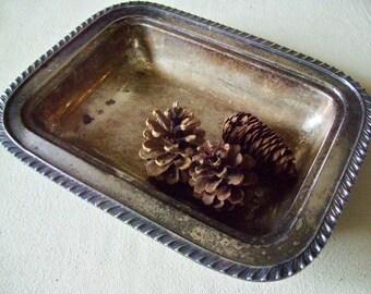Vintage Silver Plate Tray - Rectangular Tray Rope Edge - Shabby Aged Patina