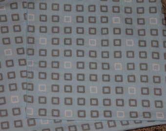 Blue, Gray, and White Squares Crib/Toddler Bed Fitted Sheet