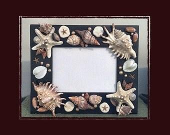"Sea Shell Photo Frame (5x7"" Black #3) - Handmade Coastal Decor"