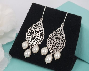 Freshwater Pearl Matte Silver Filigree Earrings