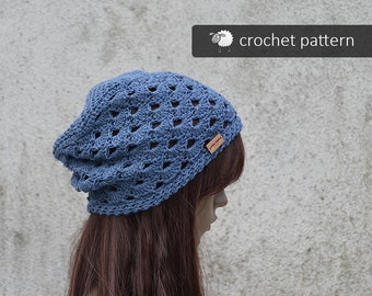 Crochet Pattern - Virginia Lacy Hat - PDF file, Sizes: Toddler, Teen/S, M, L