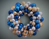 Reserved- HANUKKAH Wreath -Ornament Wreath blue silver and gold with gold DREIDEL ornament