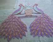 REDUCED FOR fivelans--Vintage Double Peacock Chenille Bedspread CUTTER piece--Lavender-Mint Green-Peach