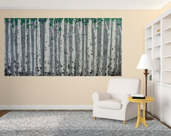 Made To Order-Choose Size-Choose Background Color-Spring Green Aspen Birch Tree Triptych