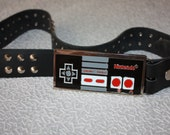RARE Vintage Real Leather Belt with Metal Buckle- NINTENDO Classic Controller Buckle- a Fashionista Statement Piece can fit for Size M and L